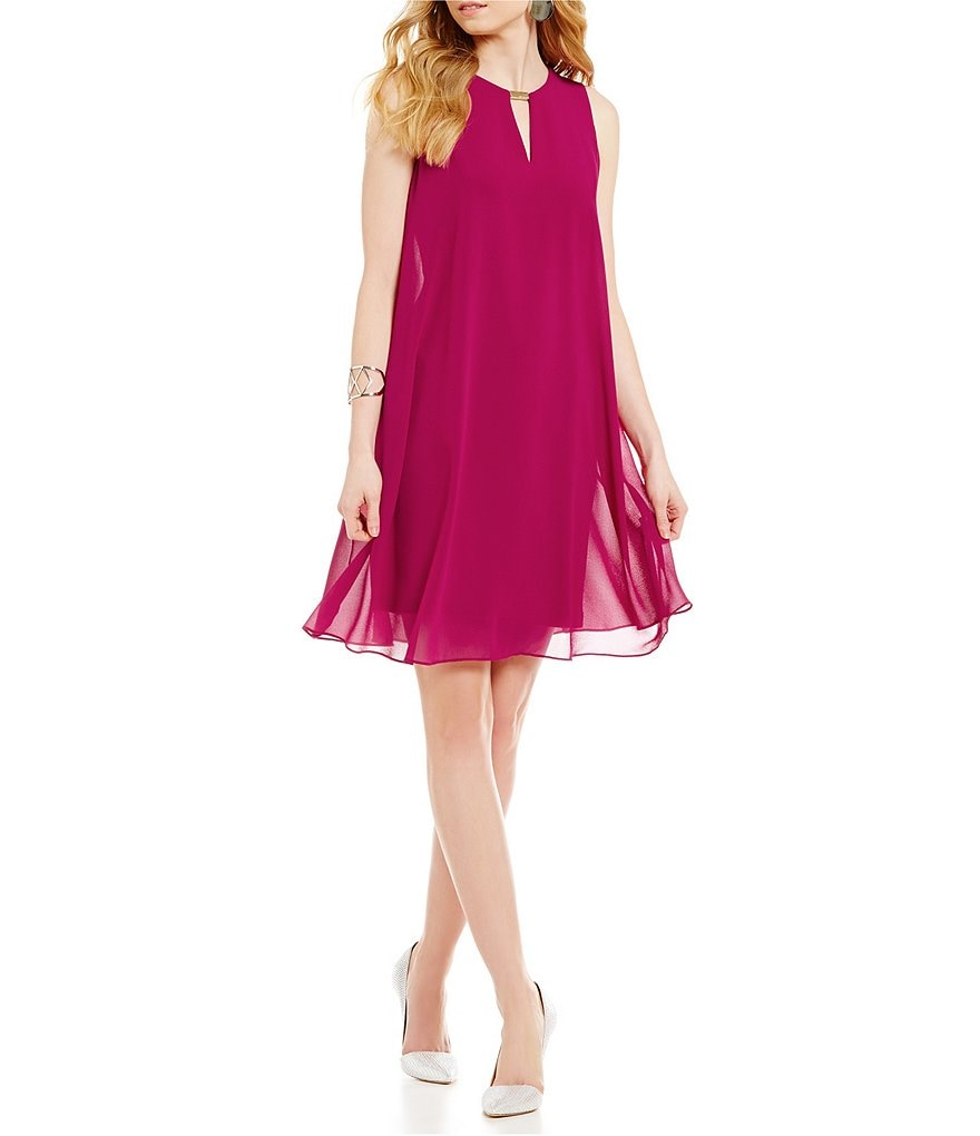 Vince Camuto Hardware Chiffon Keyhole Dress