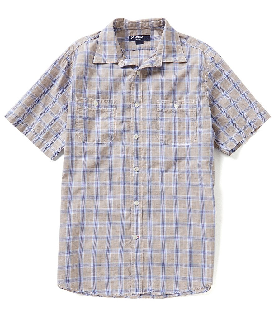 Cremieux Short-Sleeve Glen Plaid Slub Shirt