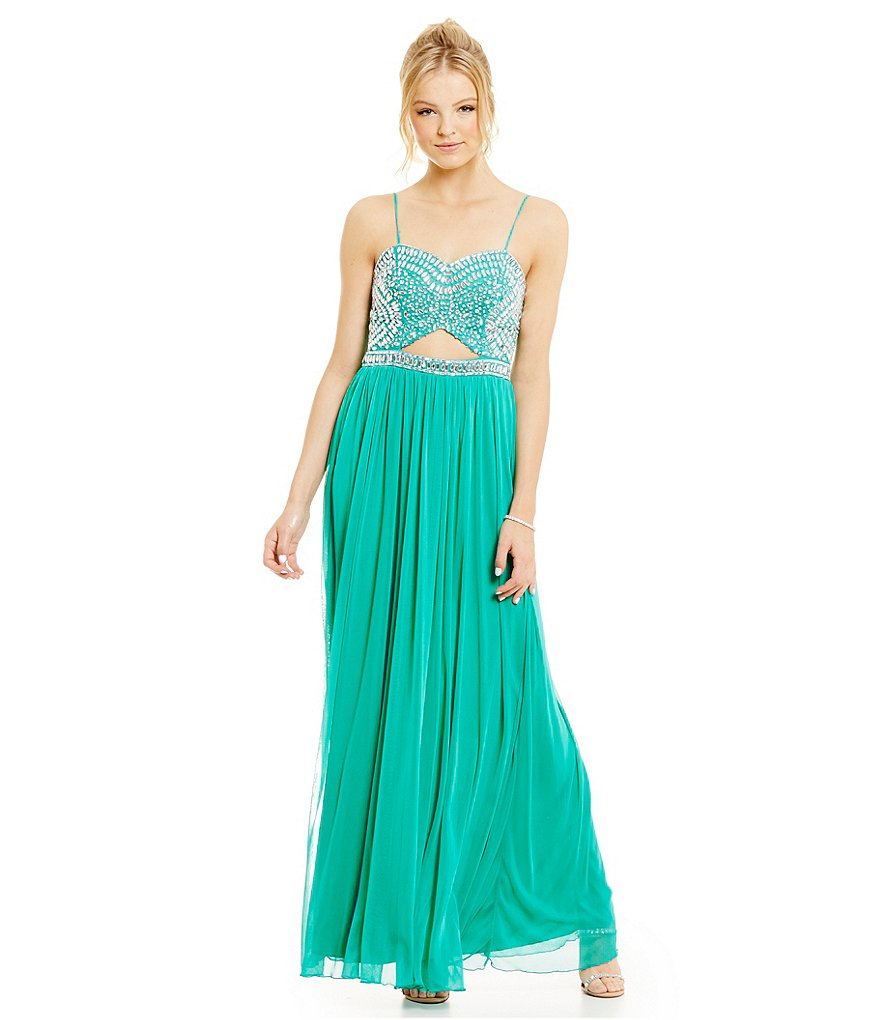 B. Darlin Cut Out Waist Crystal Embellished Gown