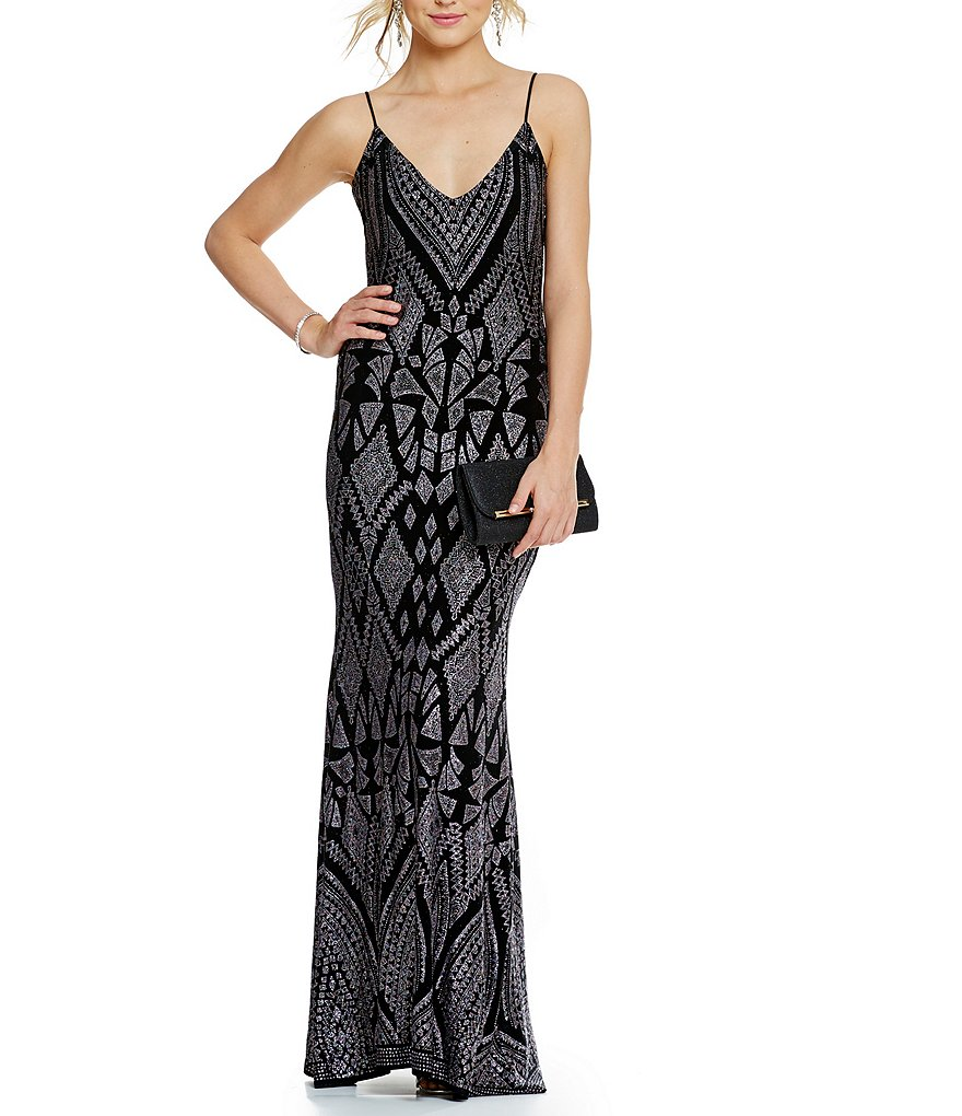 Jump Spaghetti Strap Low Back Glitter Pattern Gown
