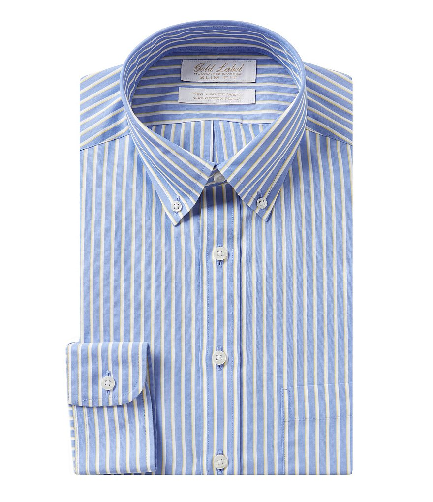 Gold label roundtree yorke striped non iron slim fit for No iron slim fit dress shirts