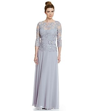 Emma Street Embroidered Lace Chiffon Gown