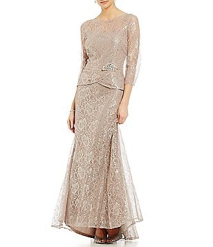 Emma Street Metallic Lace Mock 2-Piece Gown