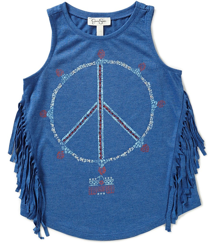 Jessica Simpson Big Girls 7-16 Rini Americana Fringe Peace Sign Tank Top