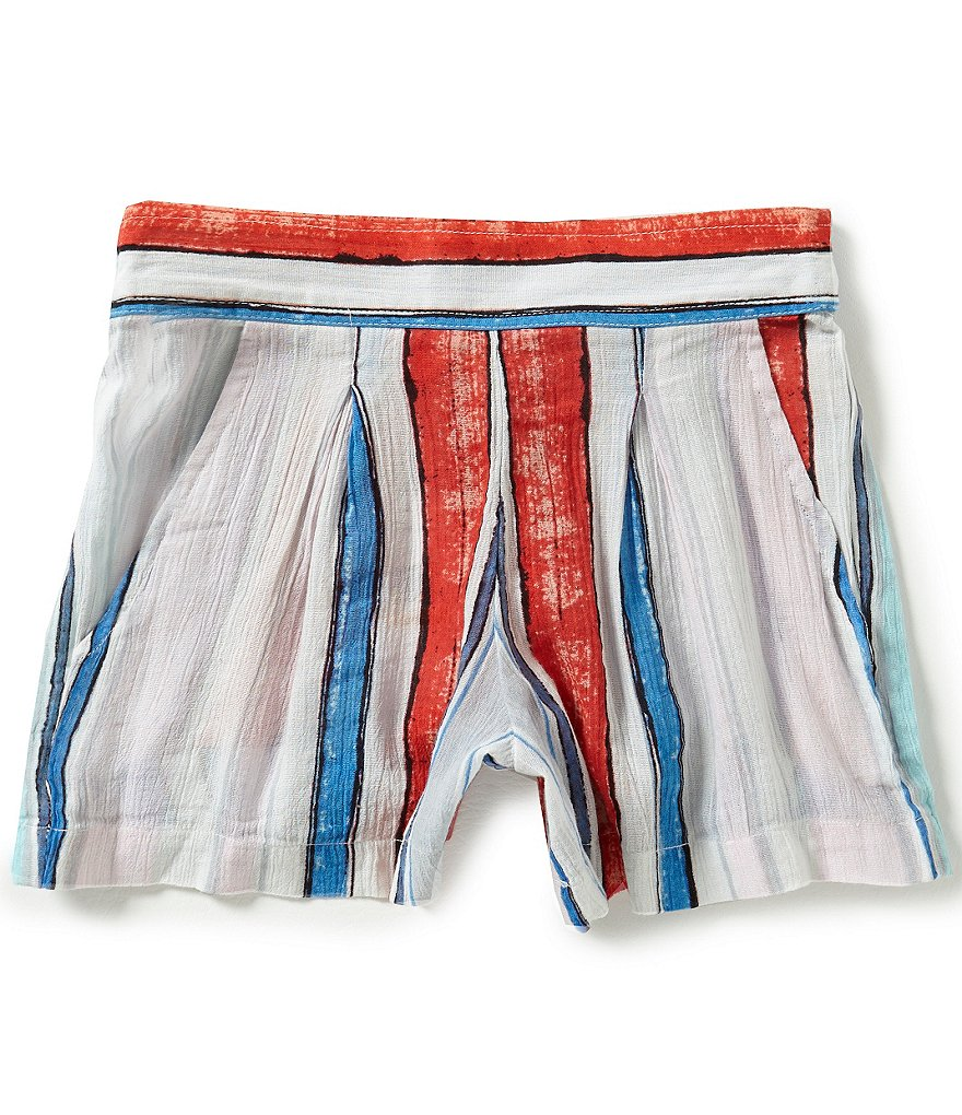 Jessica Simpson Big Girls 7-16 Nile Painted-Stripe Crinkle Gauze Shorts