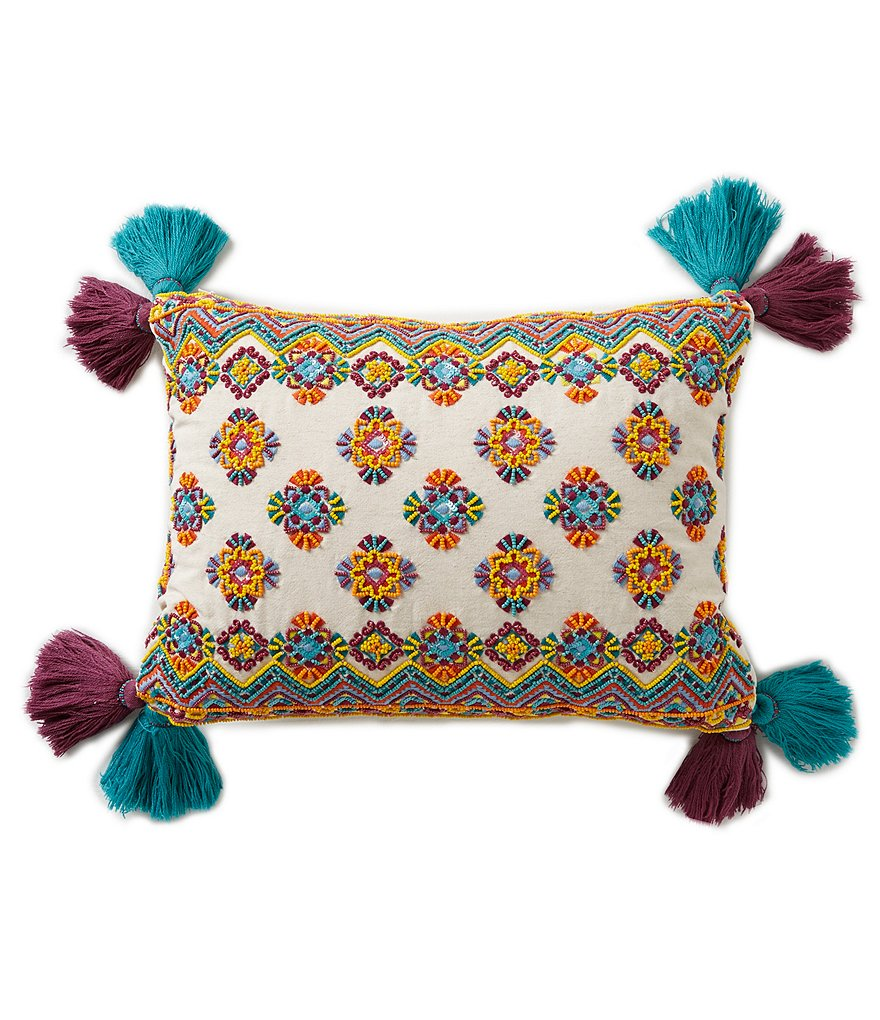 Studio D Tasseled Diamond-Embroidered Pillow