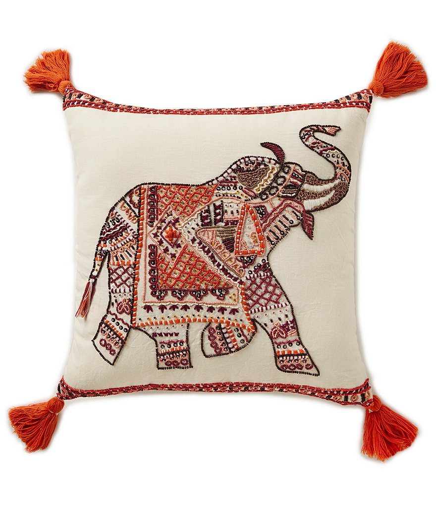 Studio D Elephant-Embroidered Tasseled Square Pillow