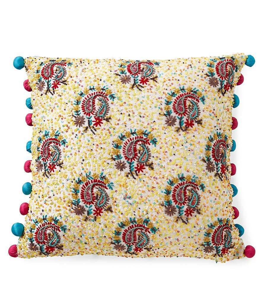 Studio D Beaded Paisley Square Pillow
