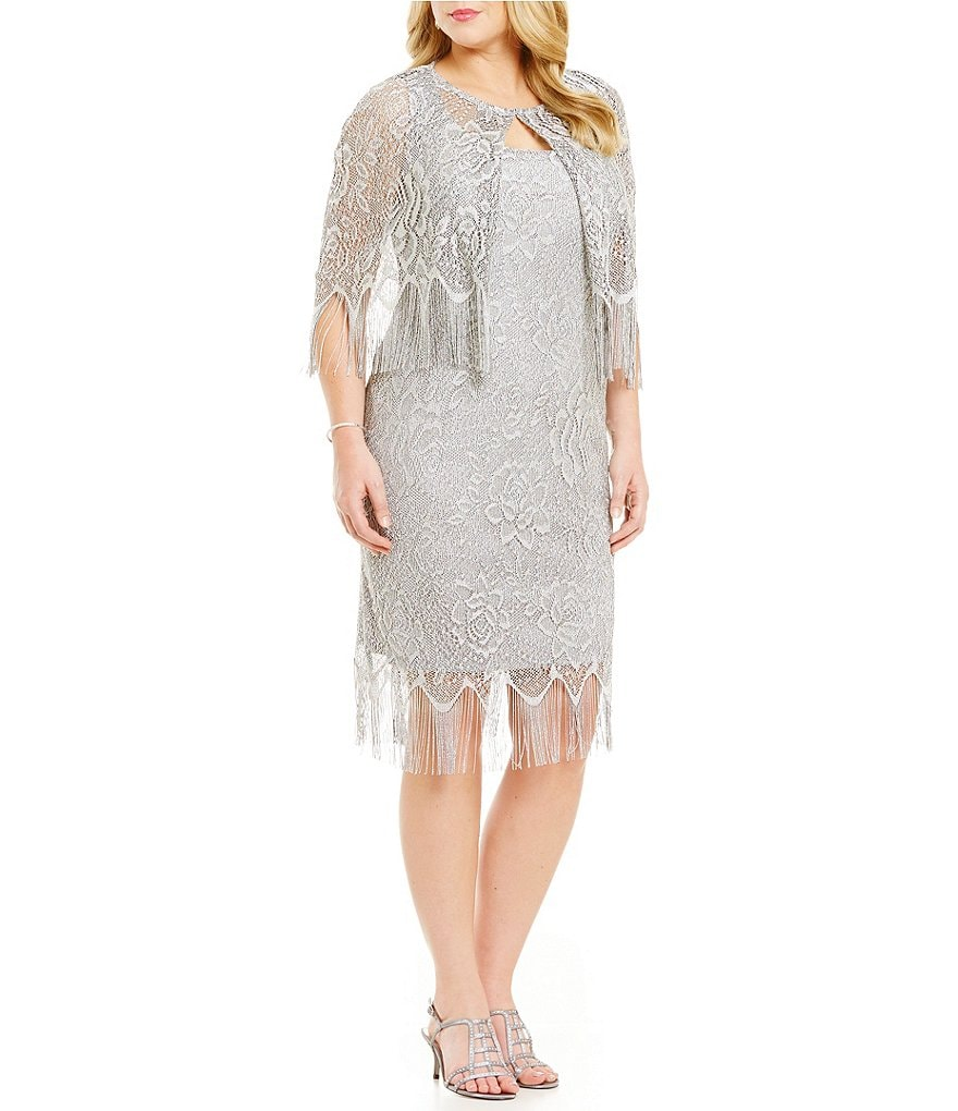 S.L. Fashions Plus Crochet Fringe Capelet Dress