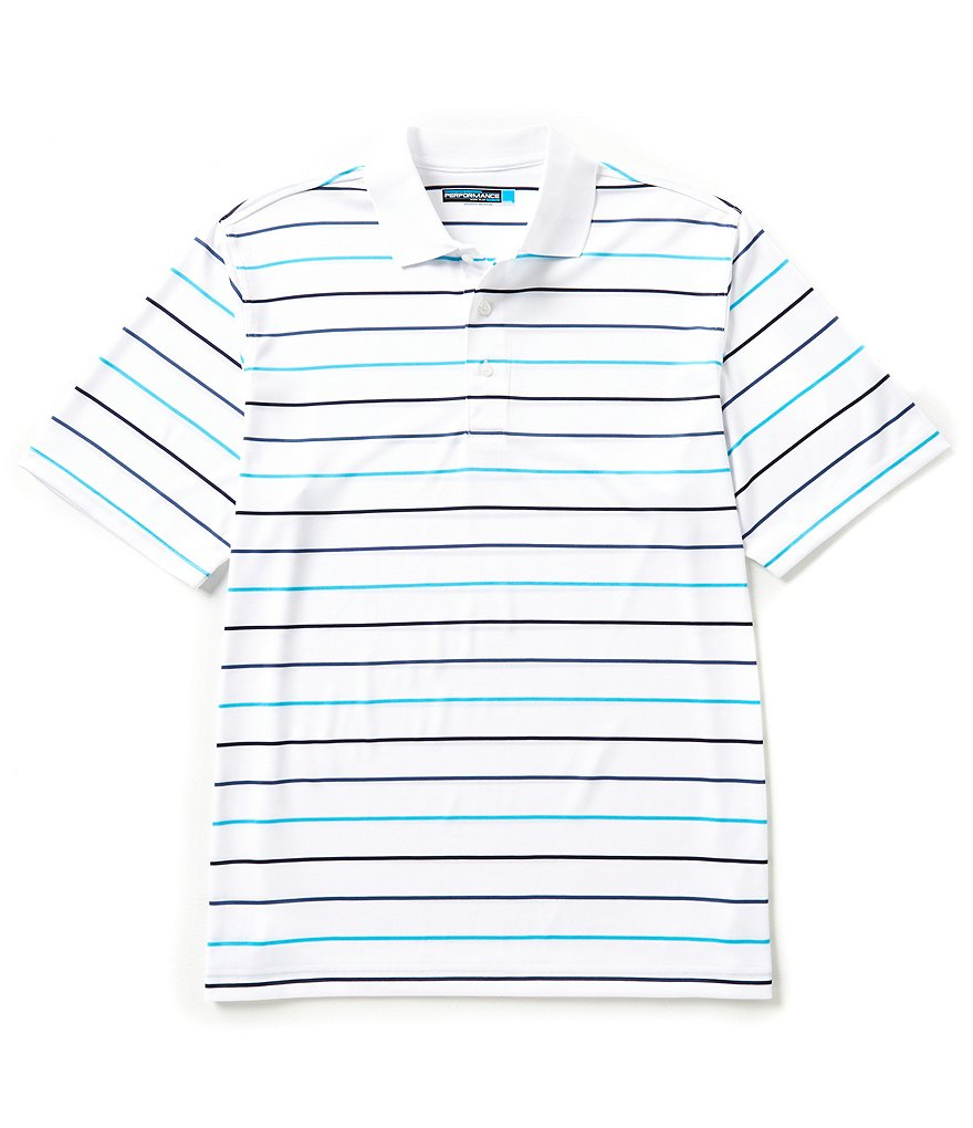 Roundtree Yorke Performance Big & Tall Short-Sleeve Horizontal Striped Polo Shirt