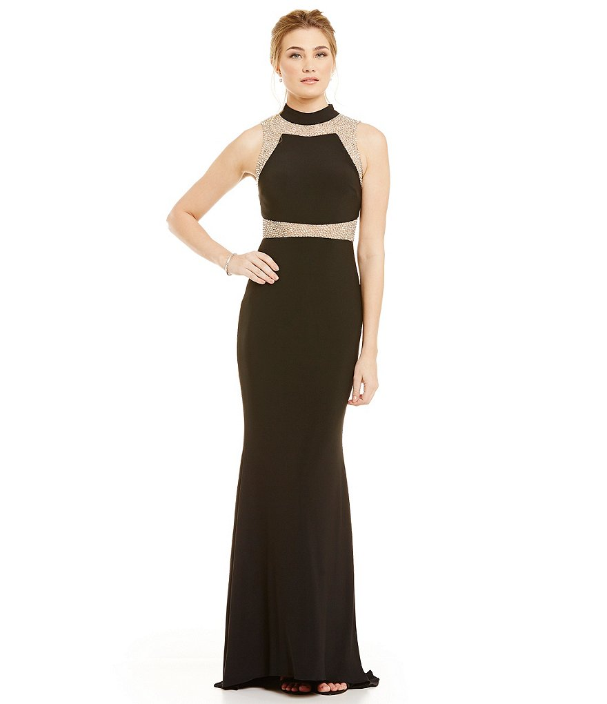 Betsy and Adam High-Neck Mesh Cut-Out Gown