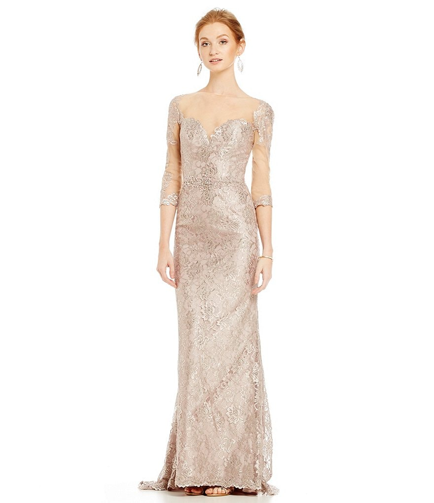 Mac Duggal Metallic Lace Beaded Gown