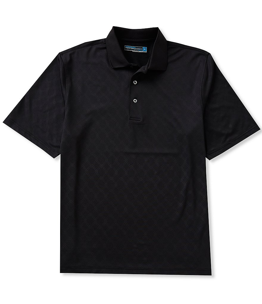 Roundtree & Yorke Performance Short-Sleeve Argyle-Embossed Polo Shirt