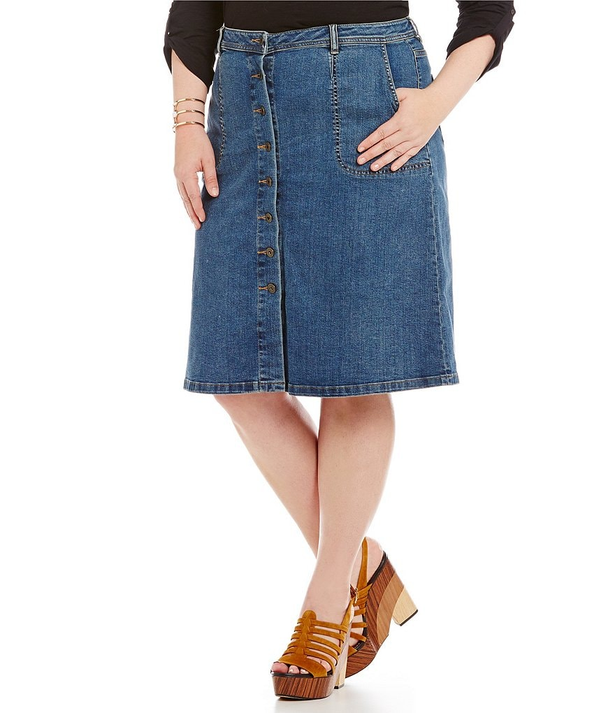 Vince Camuto Plus Button Front Denim Skirt