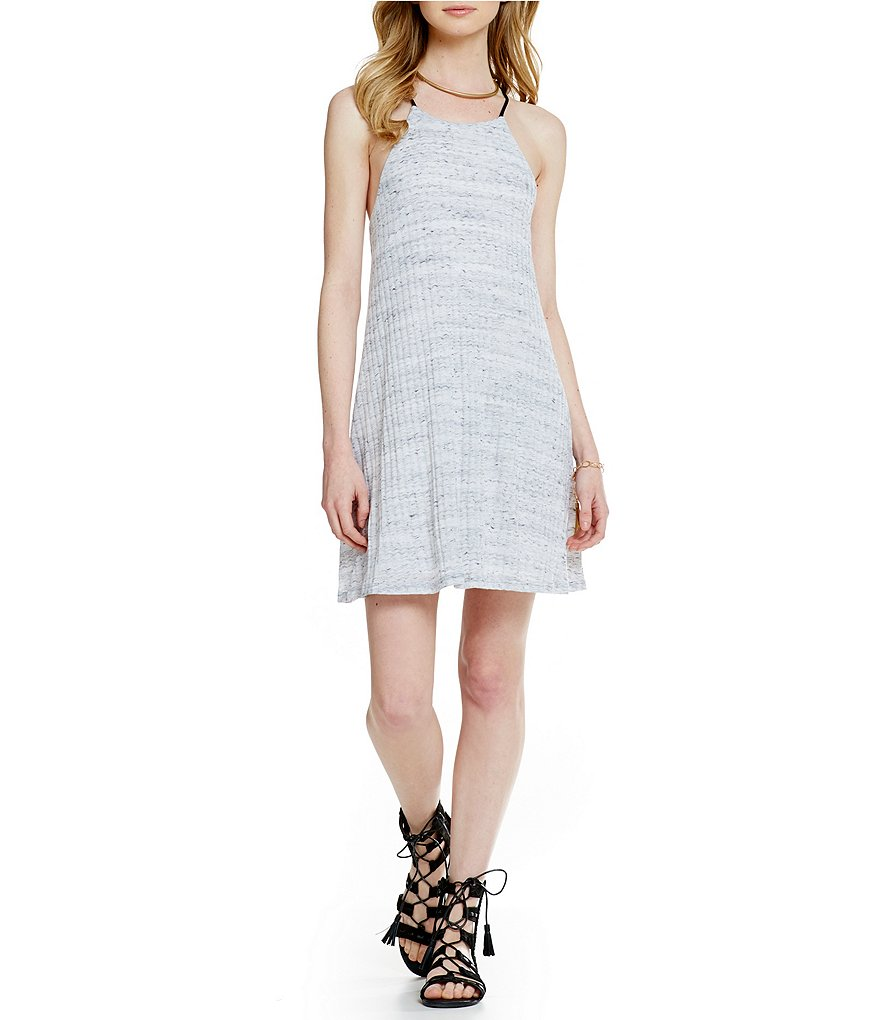Soprano Ribbed High-Neck Shift Dress
