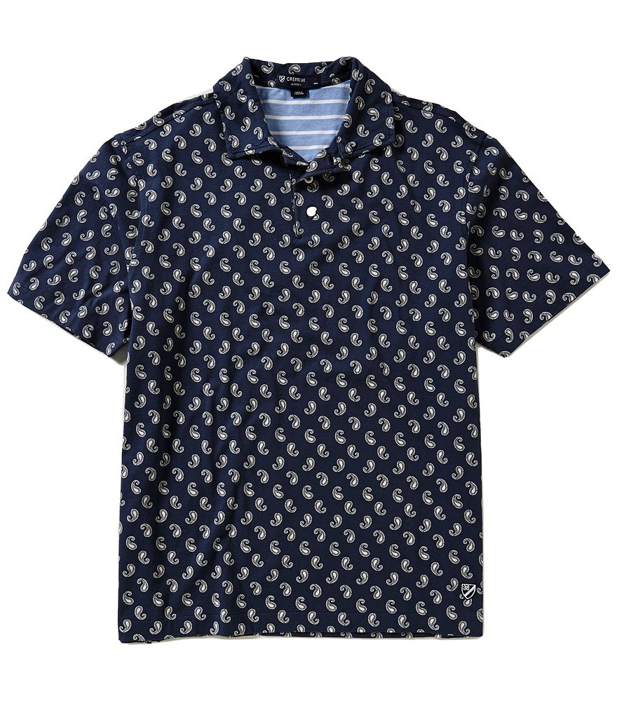 Cremieux Short-Sleeve Repeating Paisley Print Polo Shirt