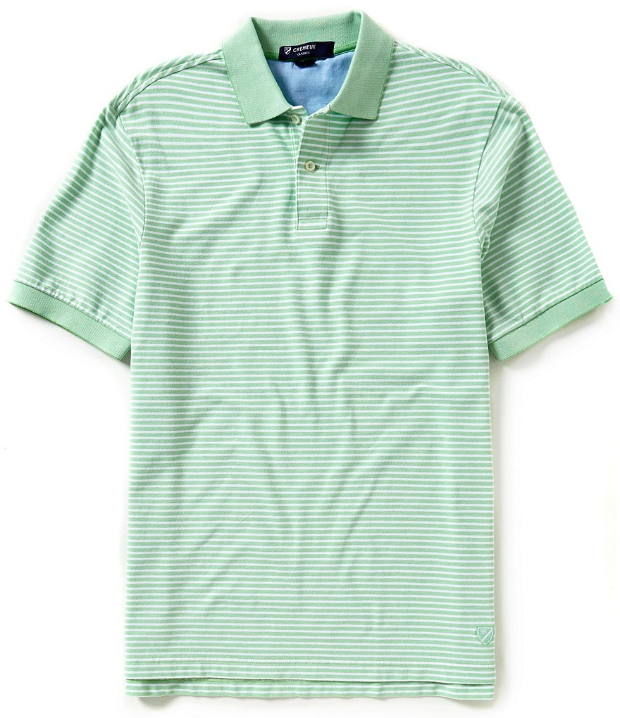 Cremieux Short-Sleeve Mini-Horizontal-Stripe Polo Shirt