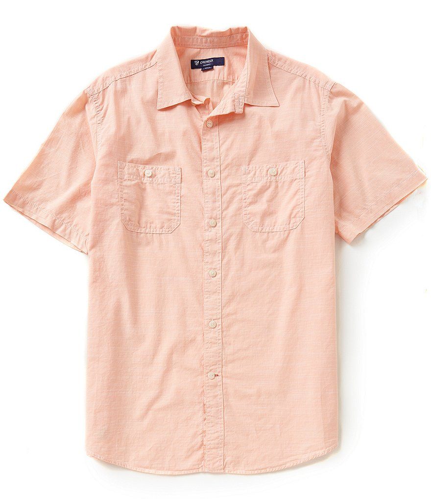 Cremieux Short-Sleeve Mini-Check Slub Woven Shirt
