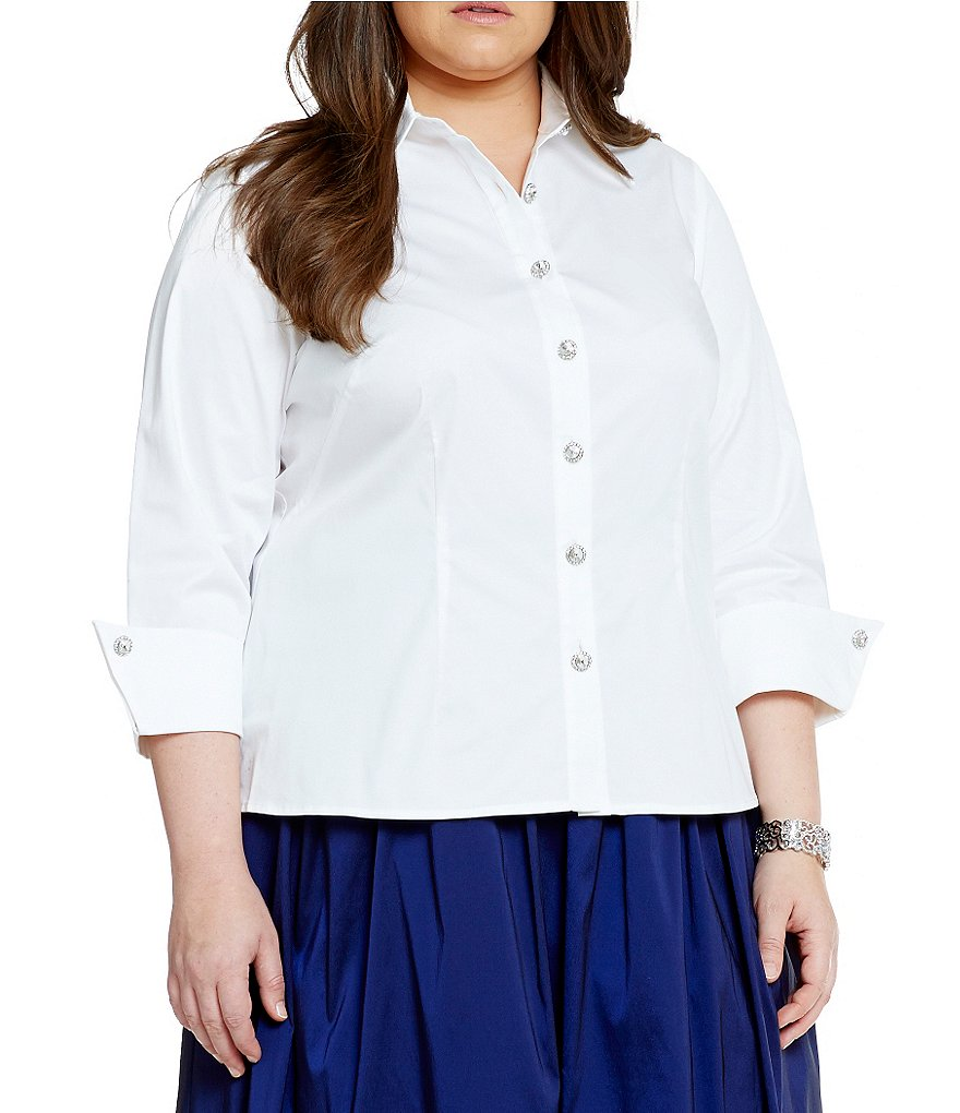 Eliza J Plus Evening Point-Collar Blouse