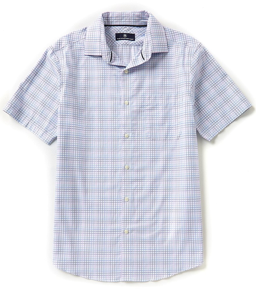 Hart Schaffner Marx Short-Sleeve Plaid Dobby Woven Shirt