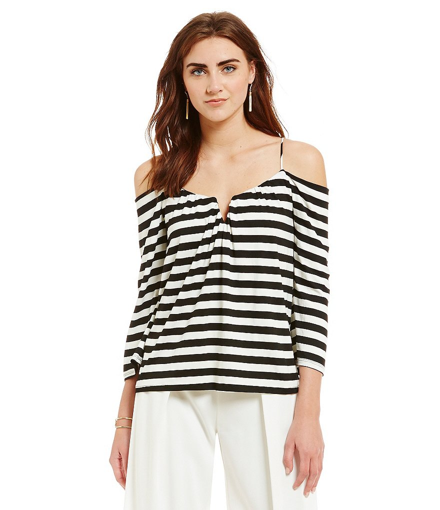 Nicole Miller Artelier Stripe-Print Cold Shoulder Top