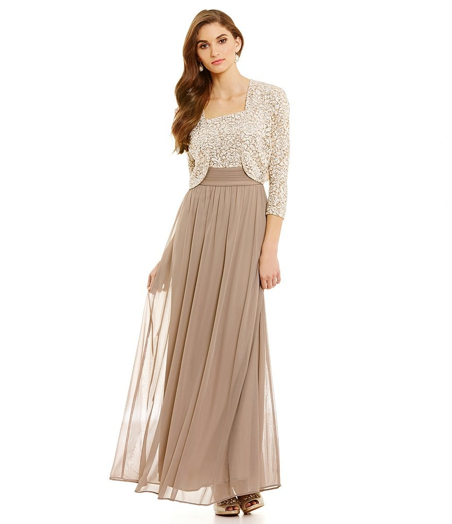 Alex Evenings Empire Waist Lace Jacket Dress