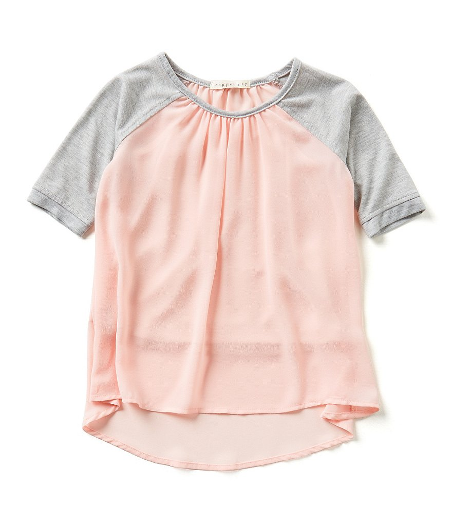 Copper Key Little Girls 4-6X Contrast Raglan Sleeve Knit Top