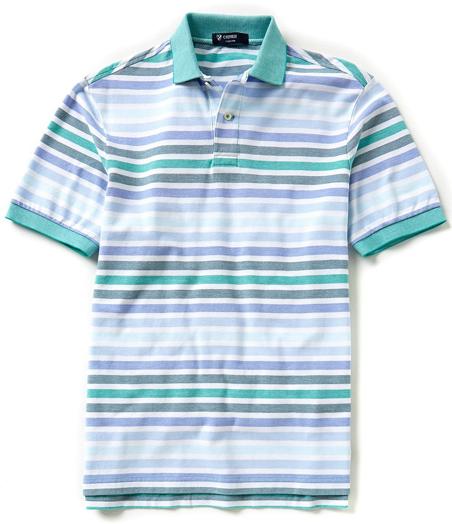 Cremieux Short-Sleeve Horizontal-Striped Polo Shirt