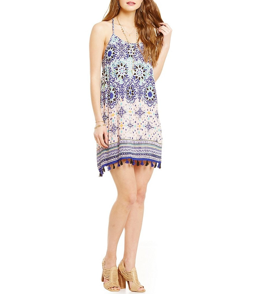 Angie Printed Tassel-Trim Dress