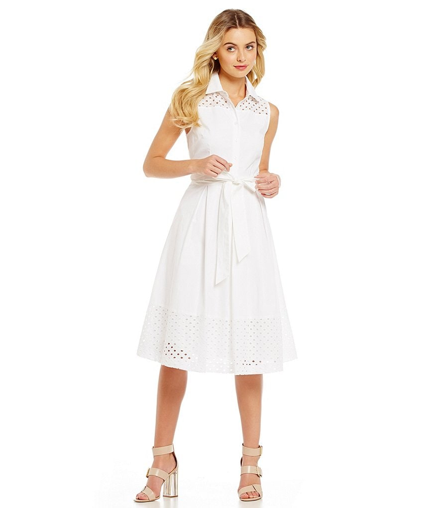Jessica Howard Belted Eyelet Shirt Dress