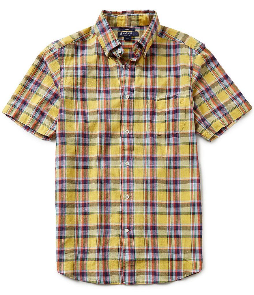 Cremieux Short-Sleeve Slim-Fit Madras Woven Shirt