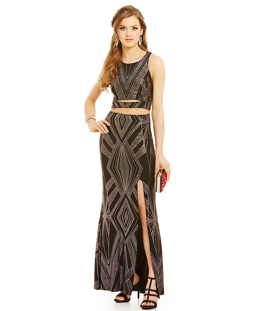 Jump Cut Out Midriff & Back Glitter Jersey Gown