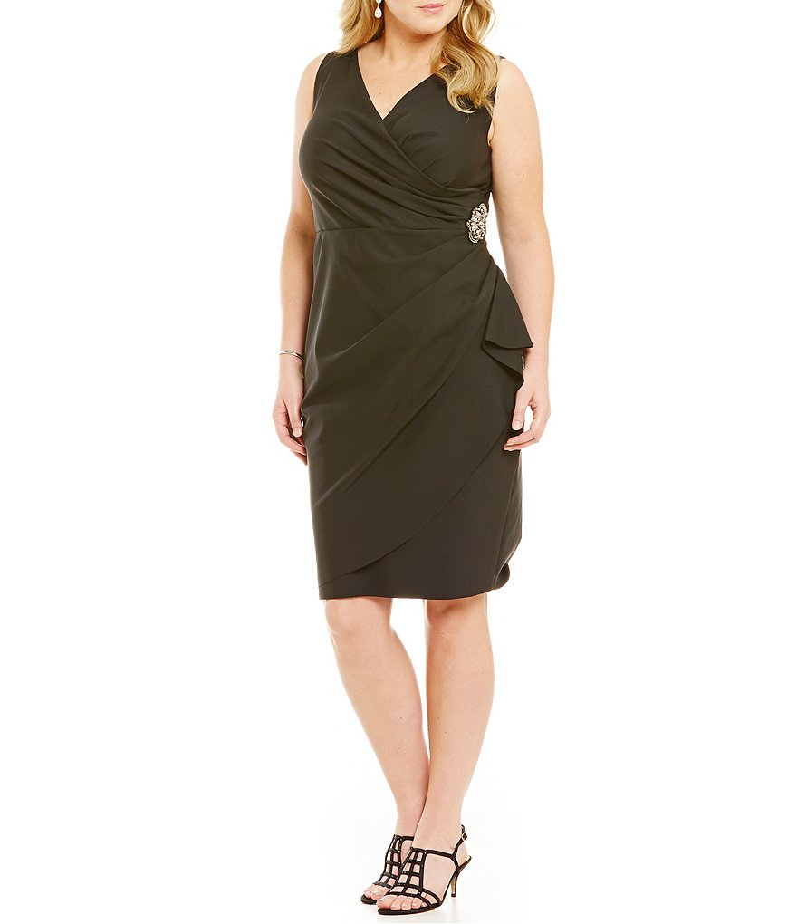 Alex Evenings Plus V-Neck Ruched Stretch Jersey Dress