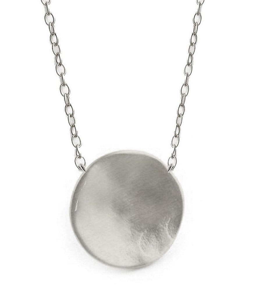 Argento Vivo Sterling Silver Hammered Disc Pendant Necklace