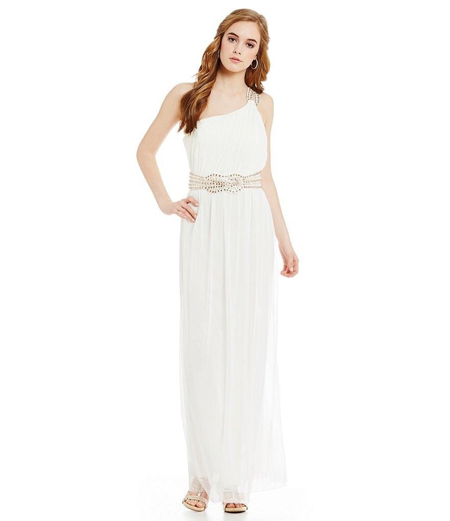 Jodi Kristopher One Shoulder Beaded Trim Gown