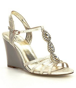 Adrianna Papell Kristen Metallic Jeweled Wedge Sandals
