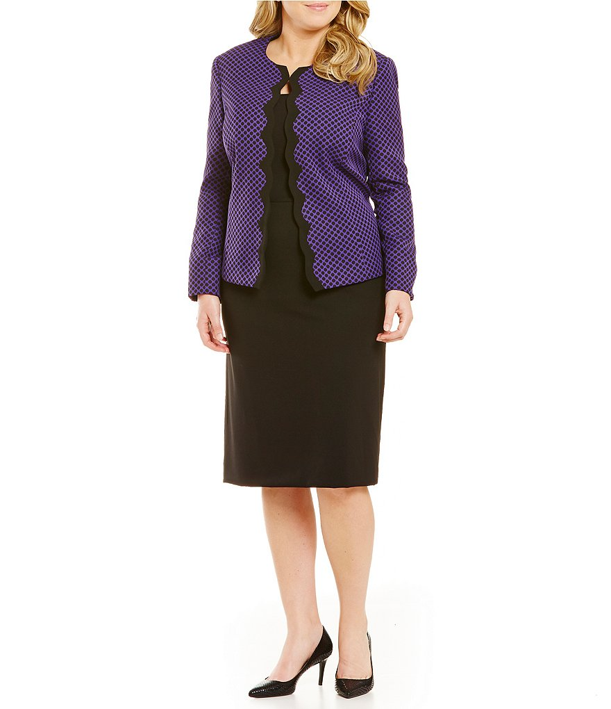 Tahari ASL Plus Scalloped Jacquard Skirt Suit