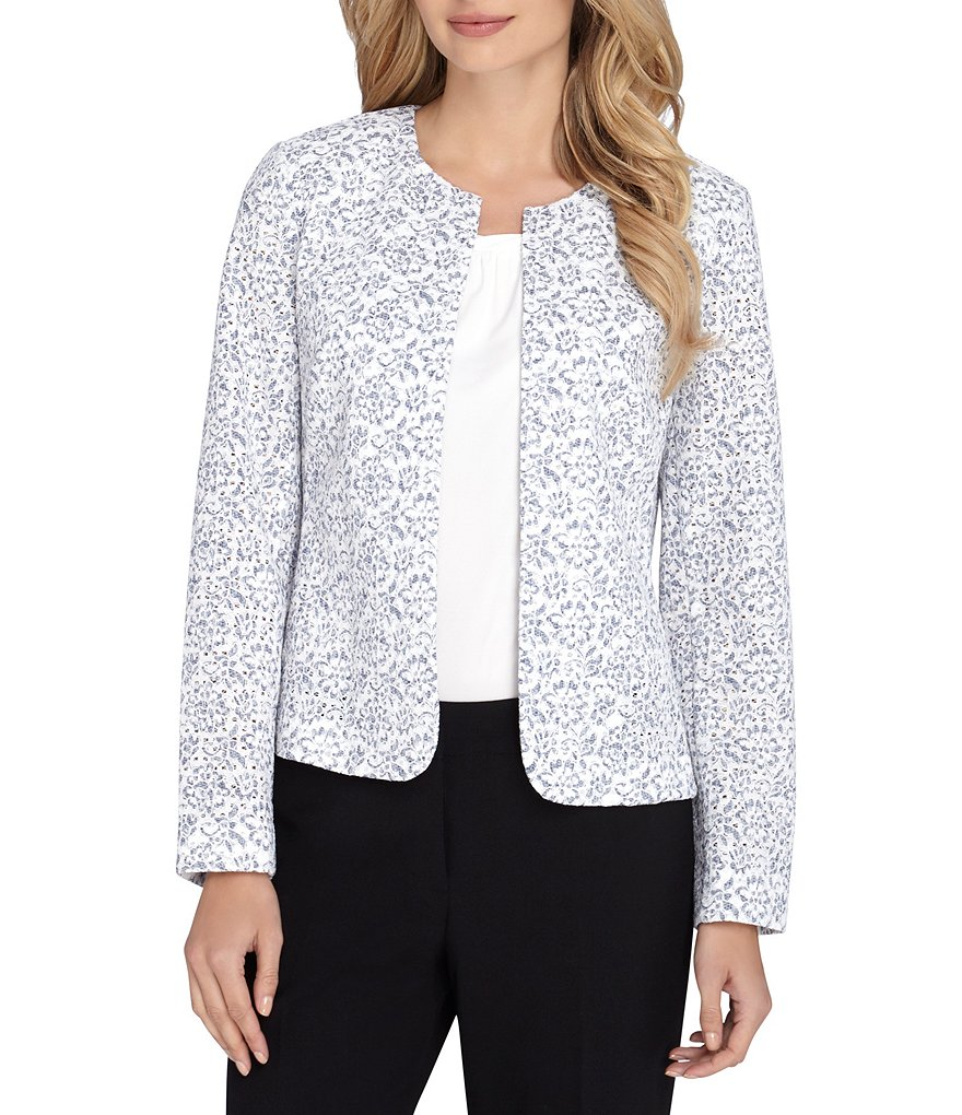 Tahari ASL Floral Lace Open Jacket