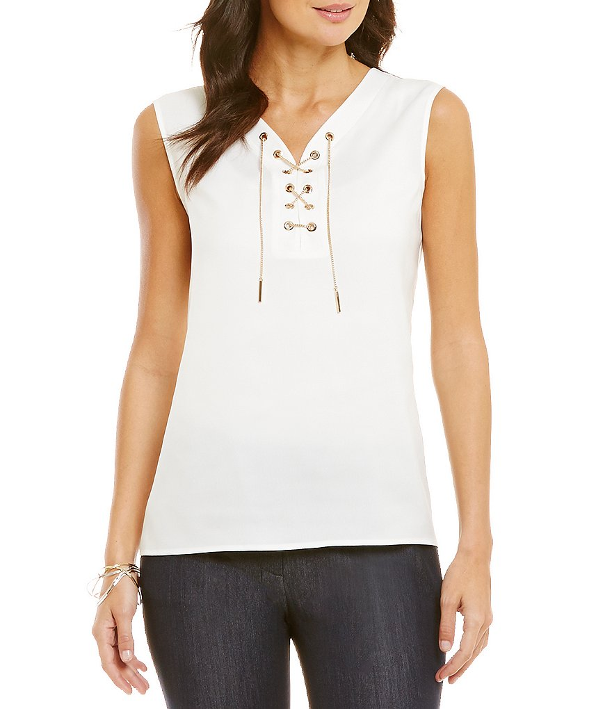 Tahari ASL V-Neck Tie Front Chain Charmeuse Top