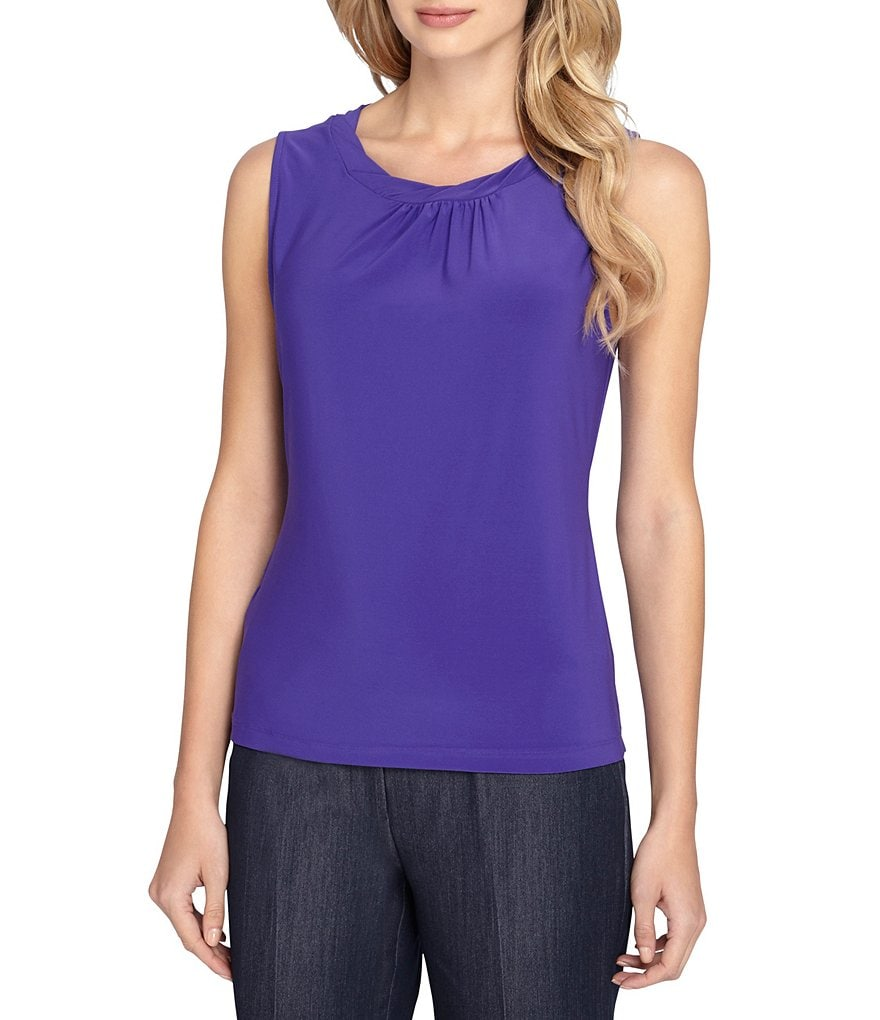 Tahari ASL Solid Twist Neck Sleeveless Top