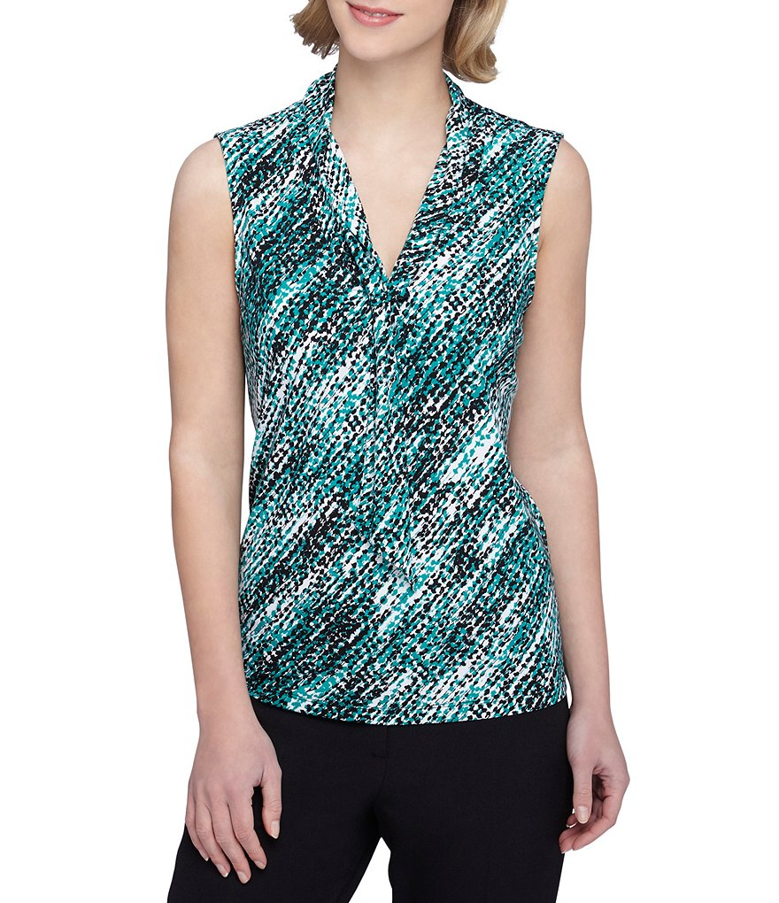 Tahari ASL Printed Jersey Sleeveless Top