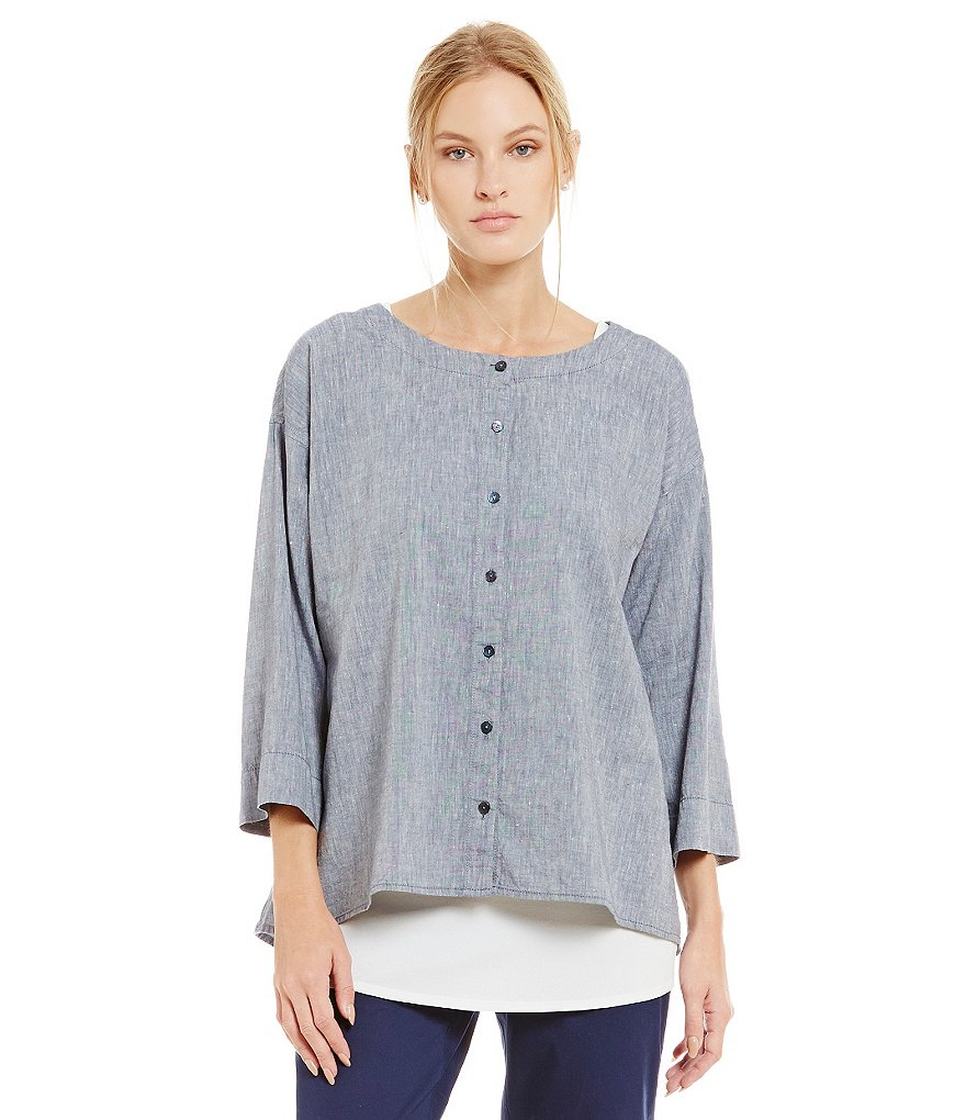 Eileen Fisher Petite Linen and Organic Cotton Top