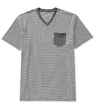Psycho Bunny Short-Sleeve Horizontal Stripe V-Neck Pocket Tee