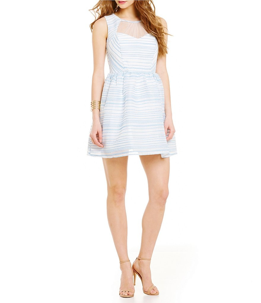 Jodi Kristopher Sleeveless Striped Party Dress