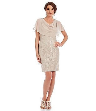 Jessica Howard Petite Capelet Lace Sheath Dress