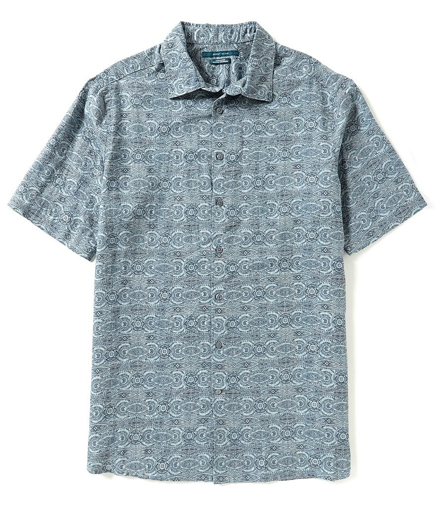 Perry Ellis Big & Tall Check Linen Woven Shirt