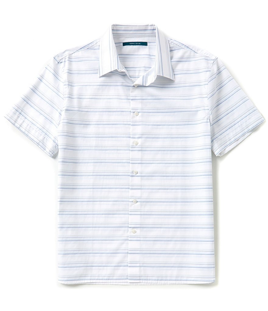 Perry Ellis Big & Tall Short-Sleeve Horizontal Striped Woven Shirt