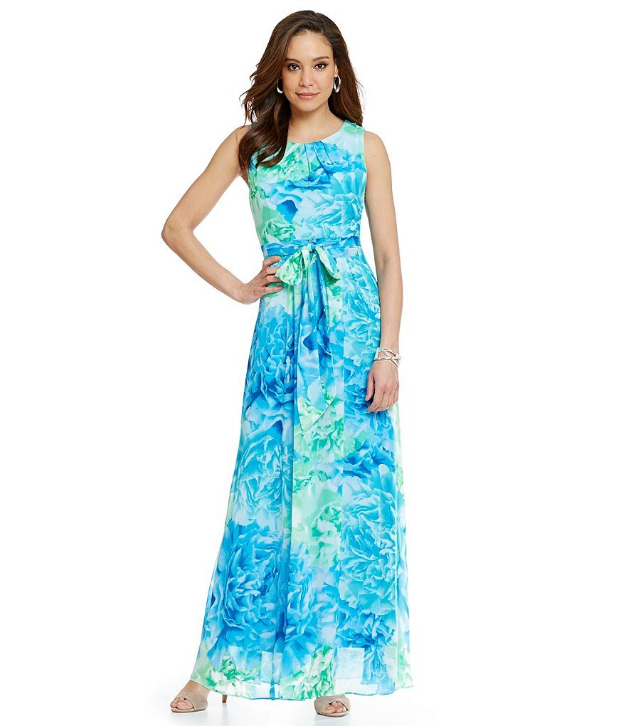 Jessica Howard Belted Print Maxi Dress