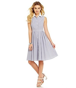 Jessica Howard Sleeveless Pleated Shirt Dress