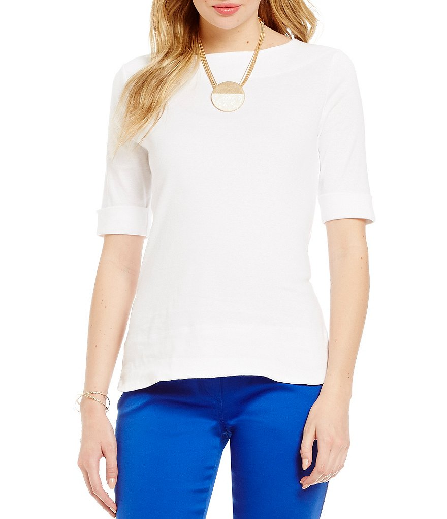 Westbound Petite Elbow-Sleeve Boatneck Top